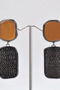 Boucles d'oreilles art déco orange